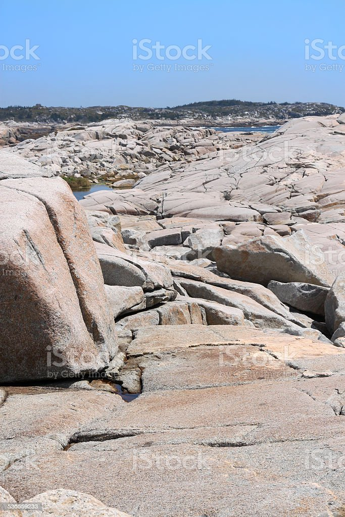 Rock formations at Peggy's Cove stock photo