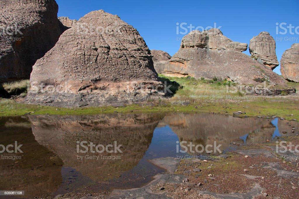 Rock formations at Sehlabathebe Park Lesotho stock photo
