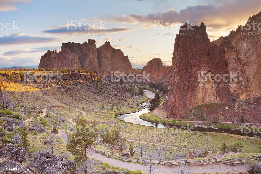 Rock formations at Smith Rock State Park, Oregon, USA stock photo