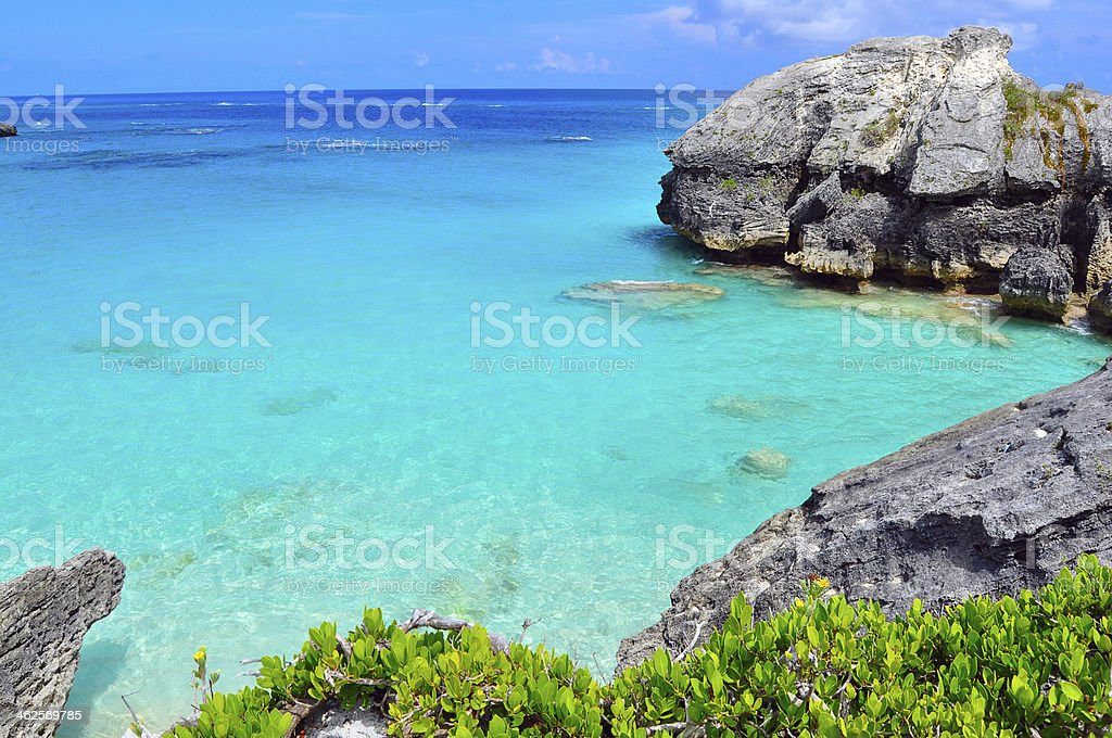 Rock formations Bermuda stock photo
