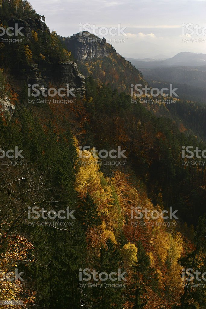 rock formations in autumn landscape royalty-free stock photo