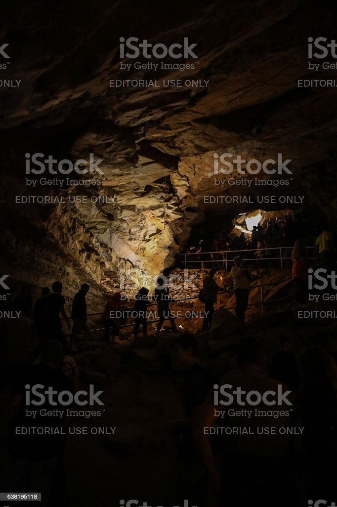Rock formations in Mammoth Caves People Silhouette stock photo