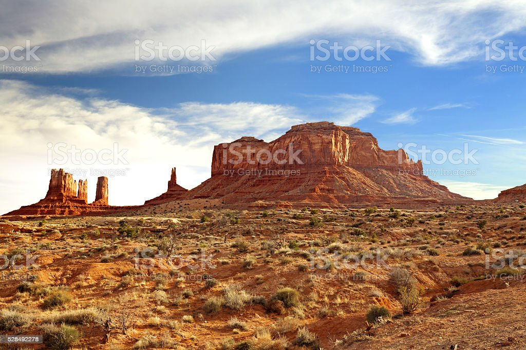 rock formations in monument valley stock photo