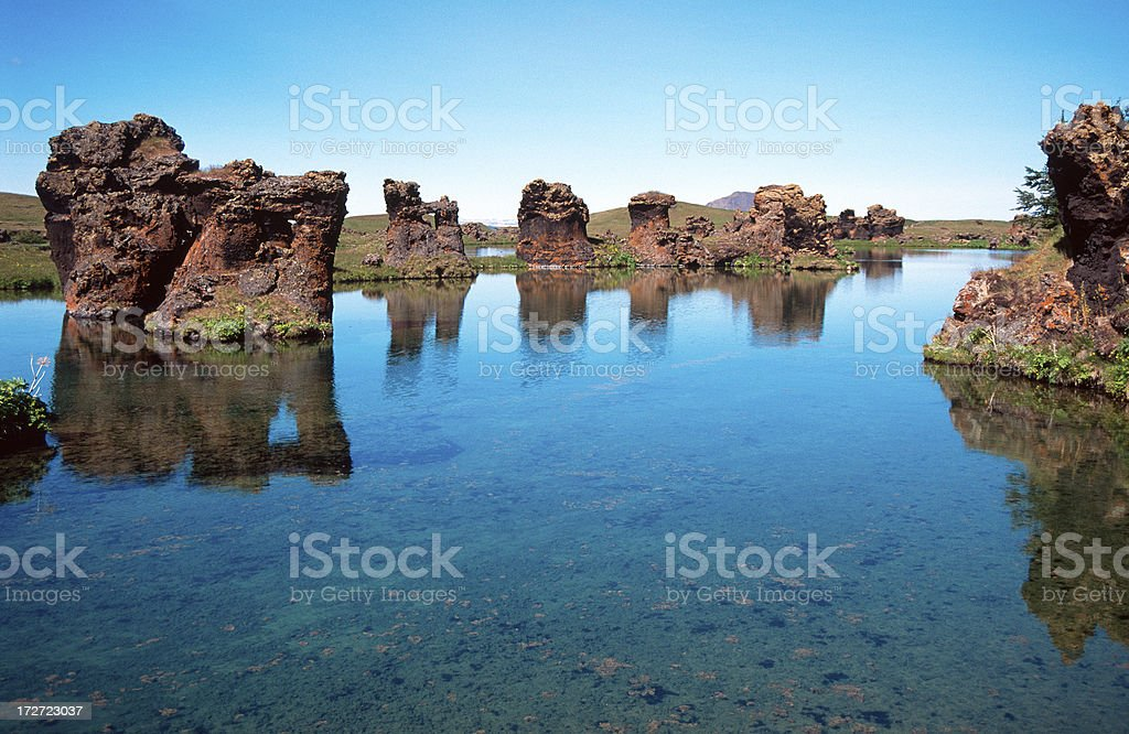 Rock formations in Myvatn lake stock photo