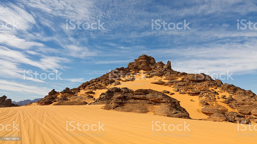 Rock Formations in the Akakus Mountains, Sahara Desert, Libya stock photo