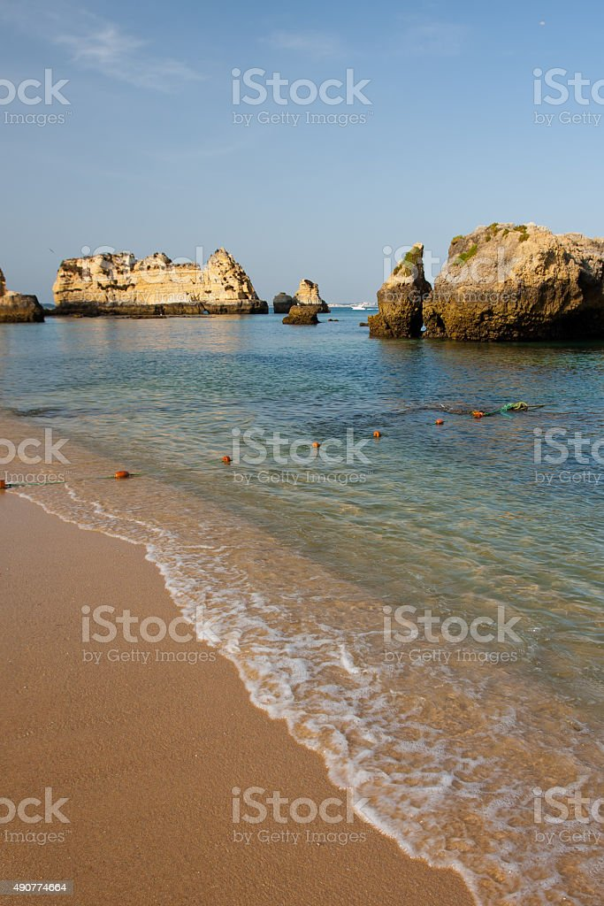 Rock formations, Lagos, Portugal. stock photo