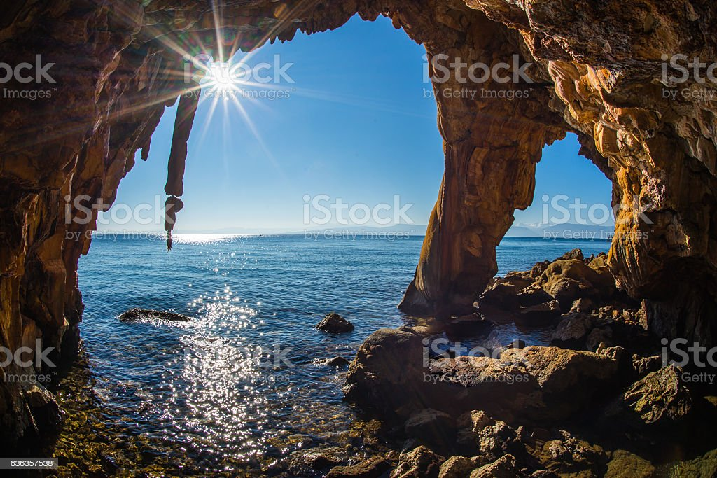 Rock formations on the beach  in Loutra Edipsou, Evia, Greece stock photo