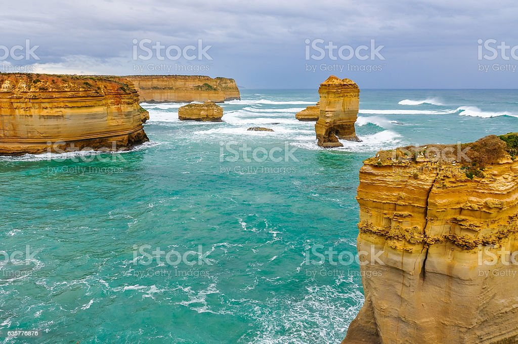 Rock formations on the Great Ocean Road, Australia stock photo