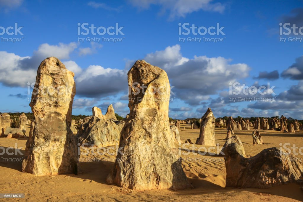 Rock formations The Pinnacles in late afternoon light, Nambung National Park stock photo
