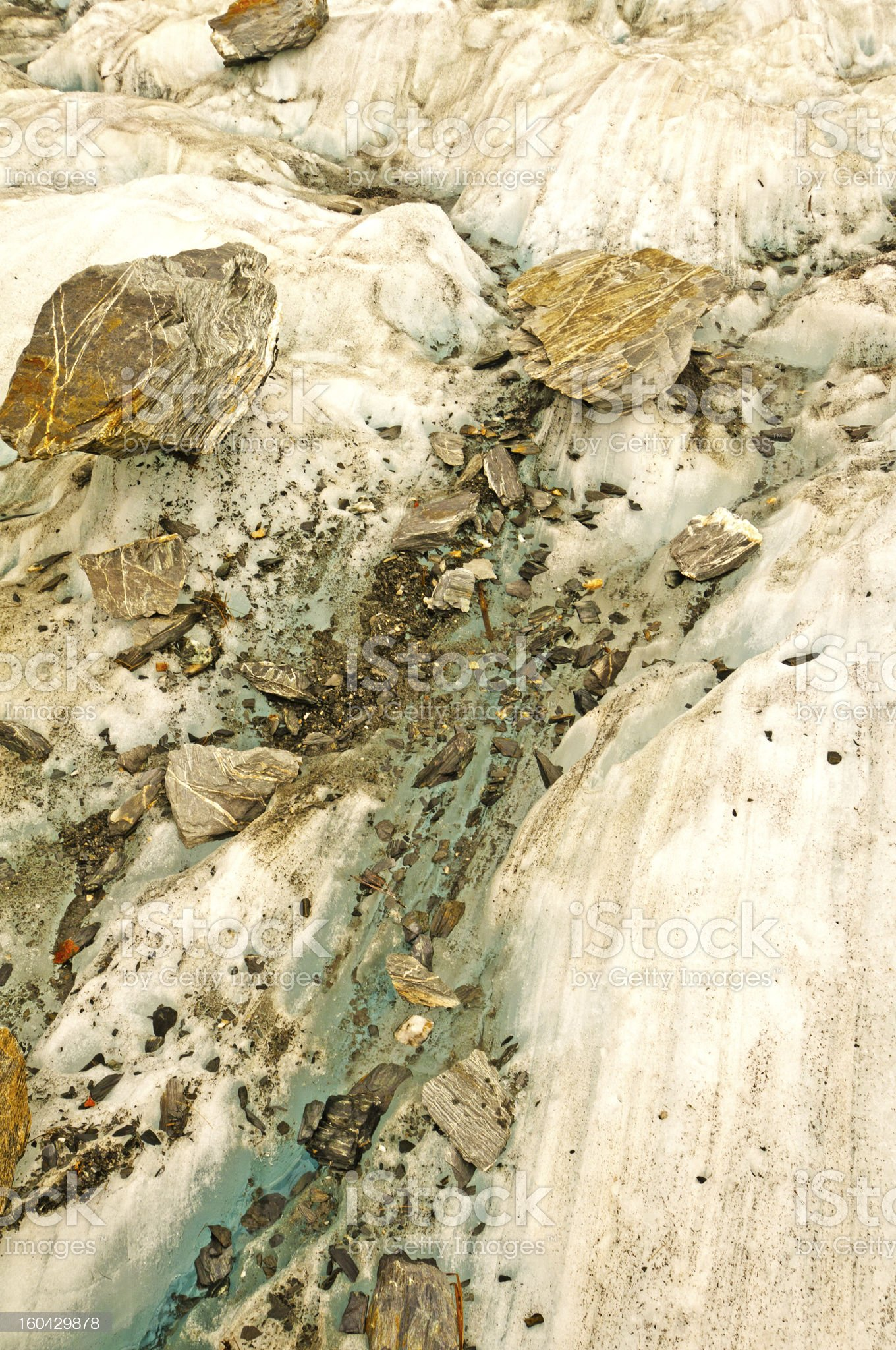 Rock Fragments on Glacial Ice royalty-free stock photo