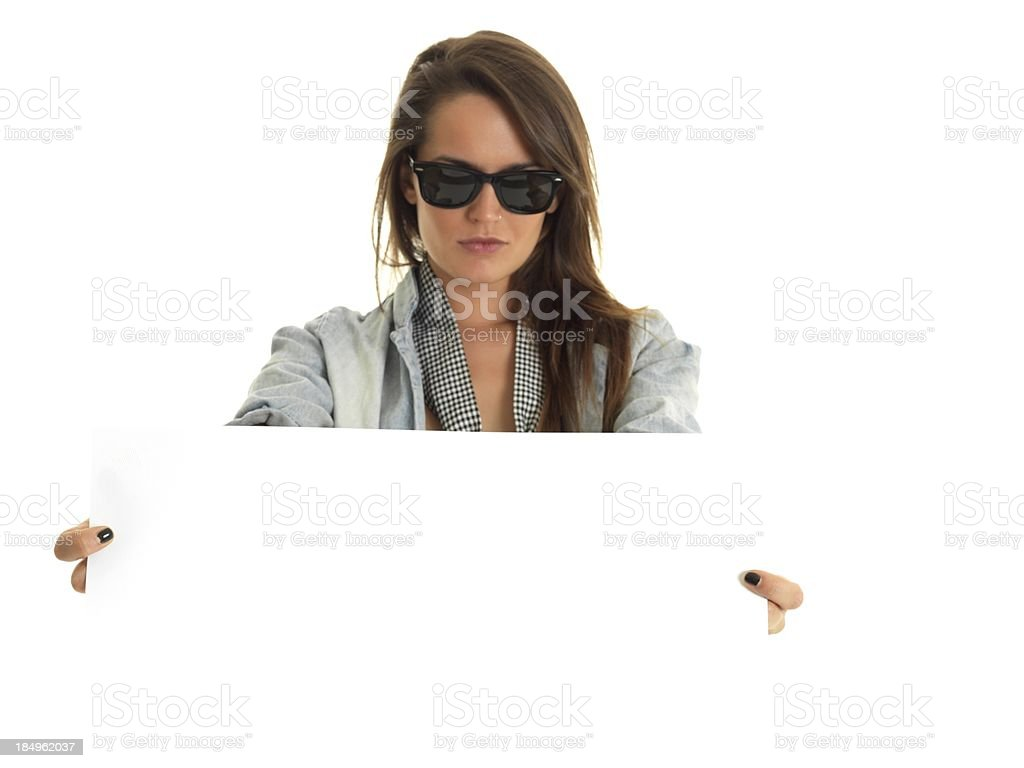 rock girl holds a poster stock photo
