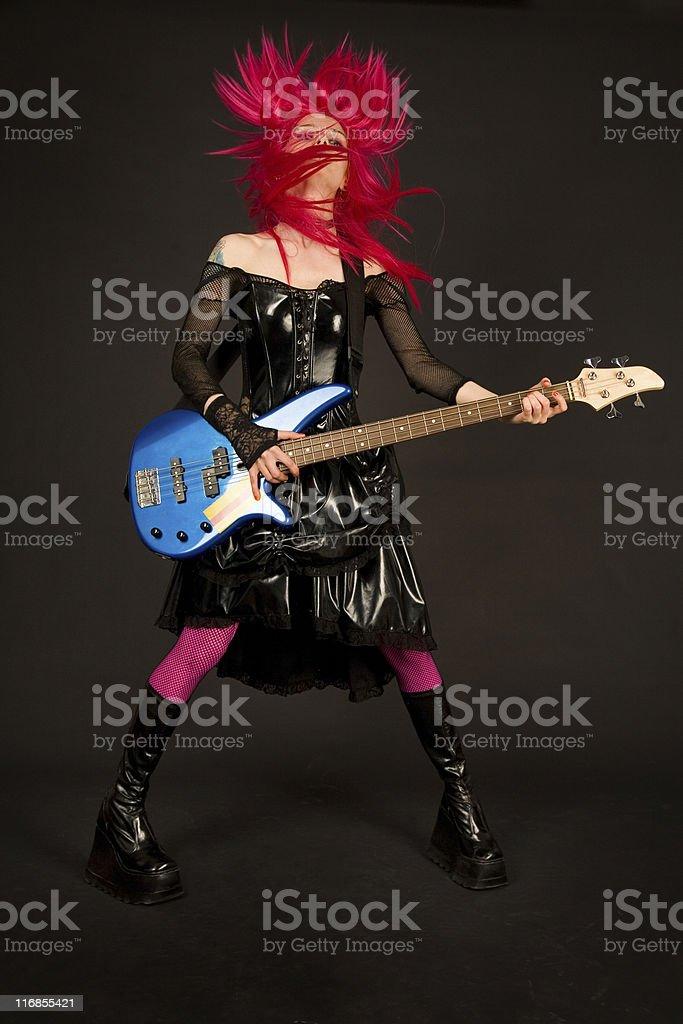 Rock girl shaking her head royalty-free stock photo