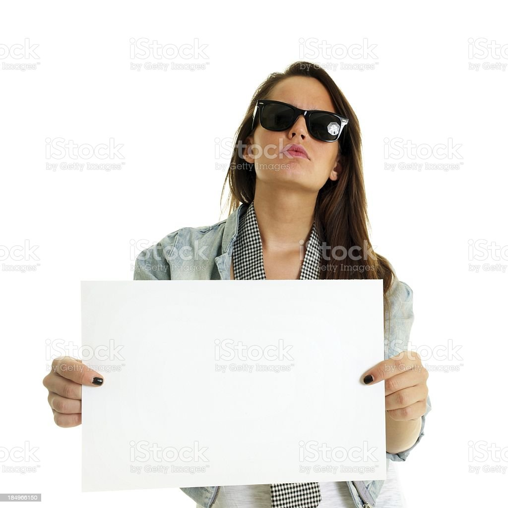 rock girl shows white paper stock photo