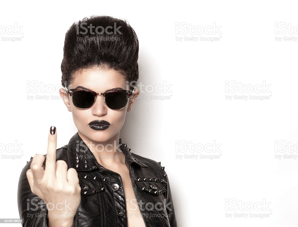 Rock girl wearing sunglasses front stock photo