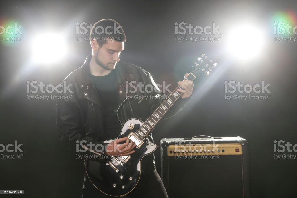 Rock guitarist stock photo