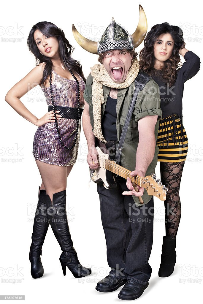 Rock Guitarist with Pretty Women royalty-free stock photo