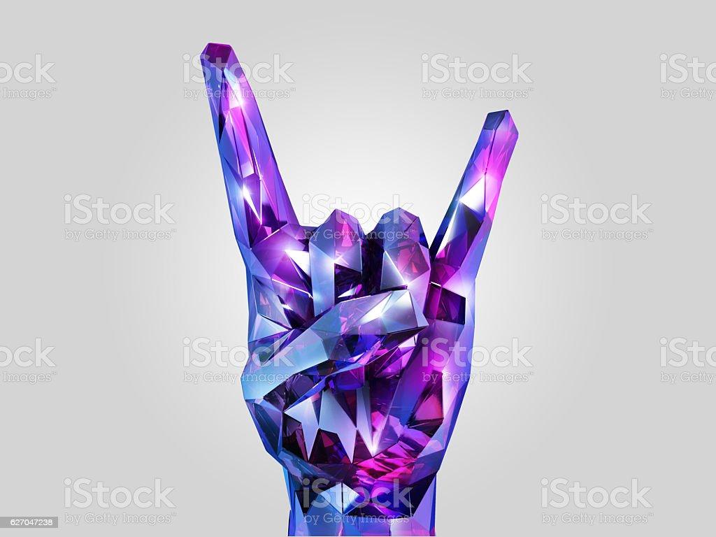 Rock hand crystal stock photo