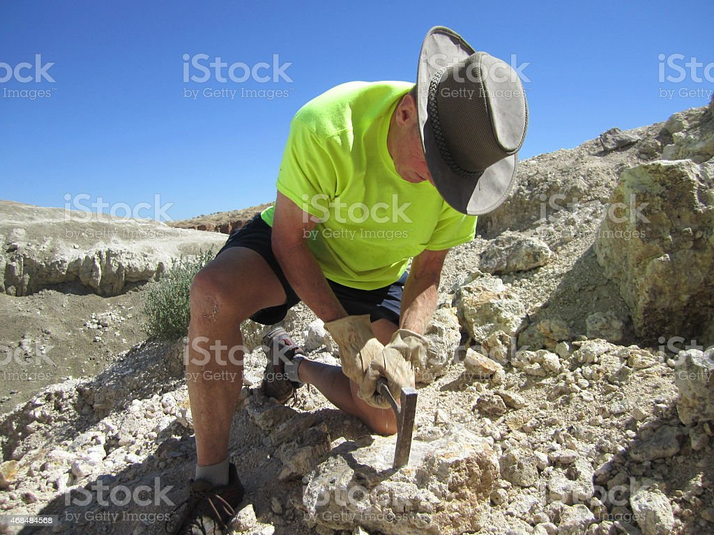 Rock hounding or prospecting in Utah stock photo