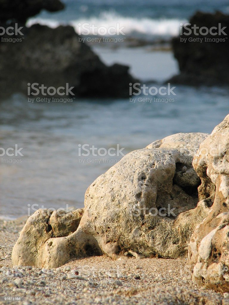 Rock in an ocean royalty-free stock photo