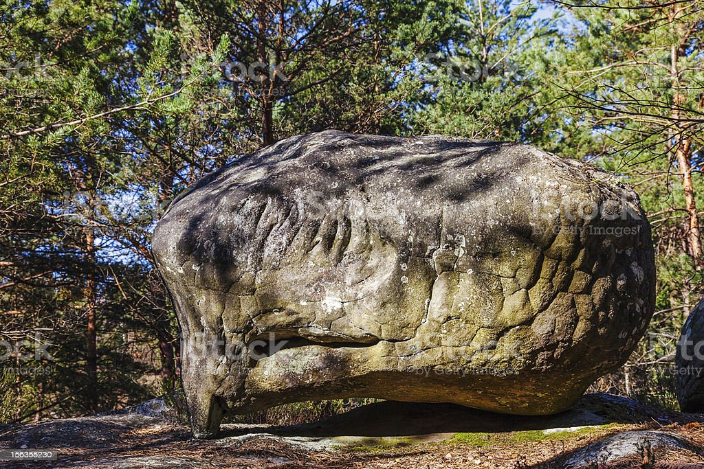 Rock in Fontainebleau Forest royalty-free stock photo
