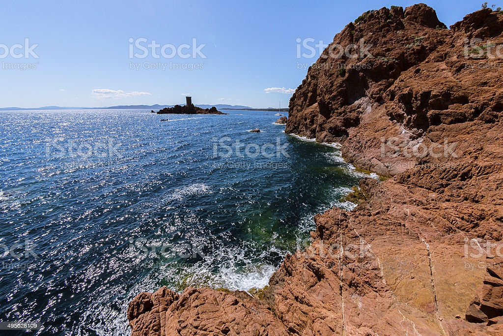 Rock in French Riviera stock photo