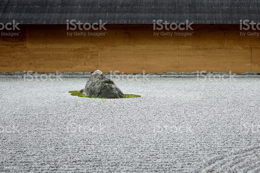 Rock in Japanese garden with raked pebbles stock photo