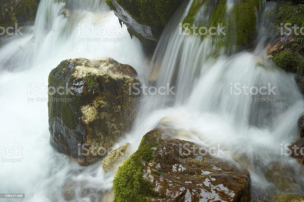 Rock in Stream Running Water stock photo