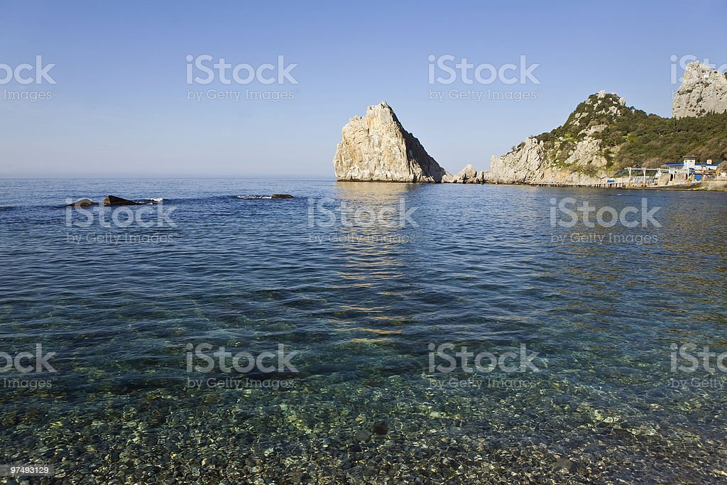 Rock in the sea stock photo