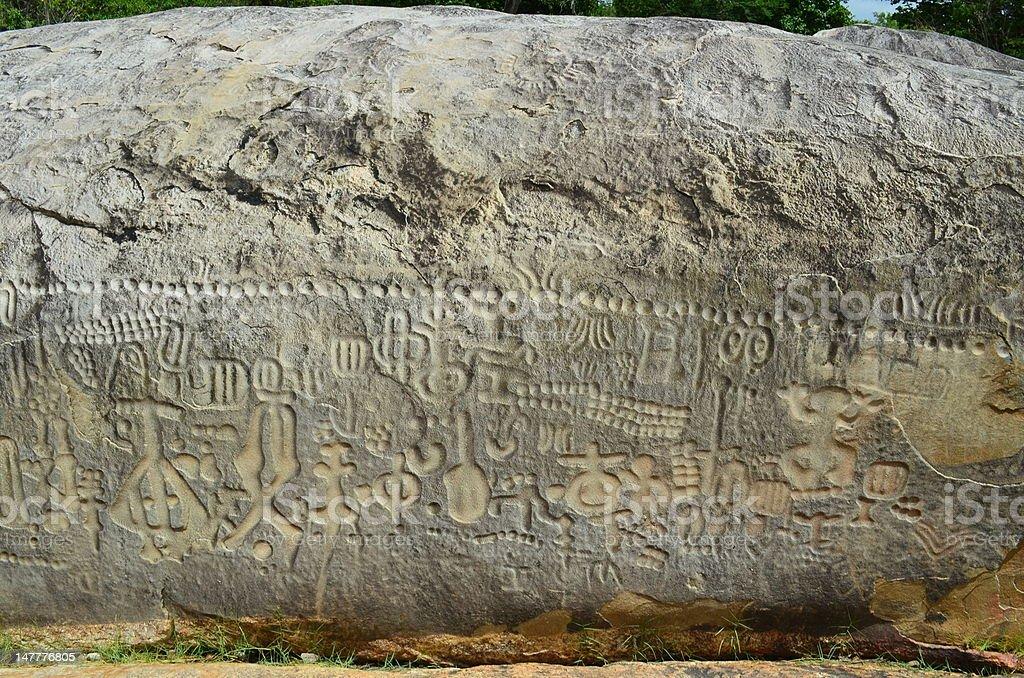 rock inscription stock photo