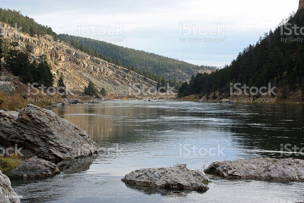 Rock islands in Missouri River stock photo