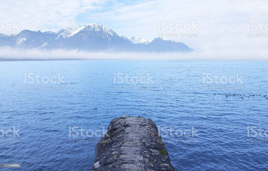 Rock jetty in lake royalty-free stock photo