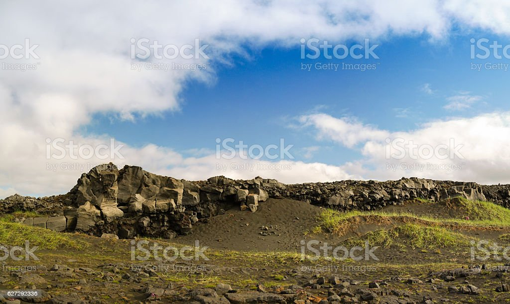Rock landscape near the bridge between continents Reykjanes stock photo