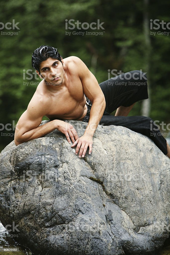 Rock Laying Athletic Man royalty-free stock photo