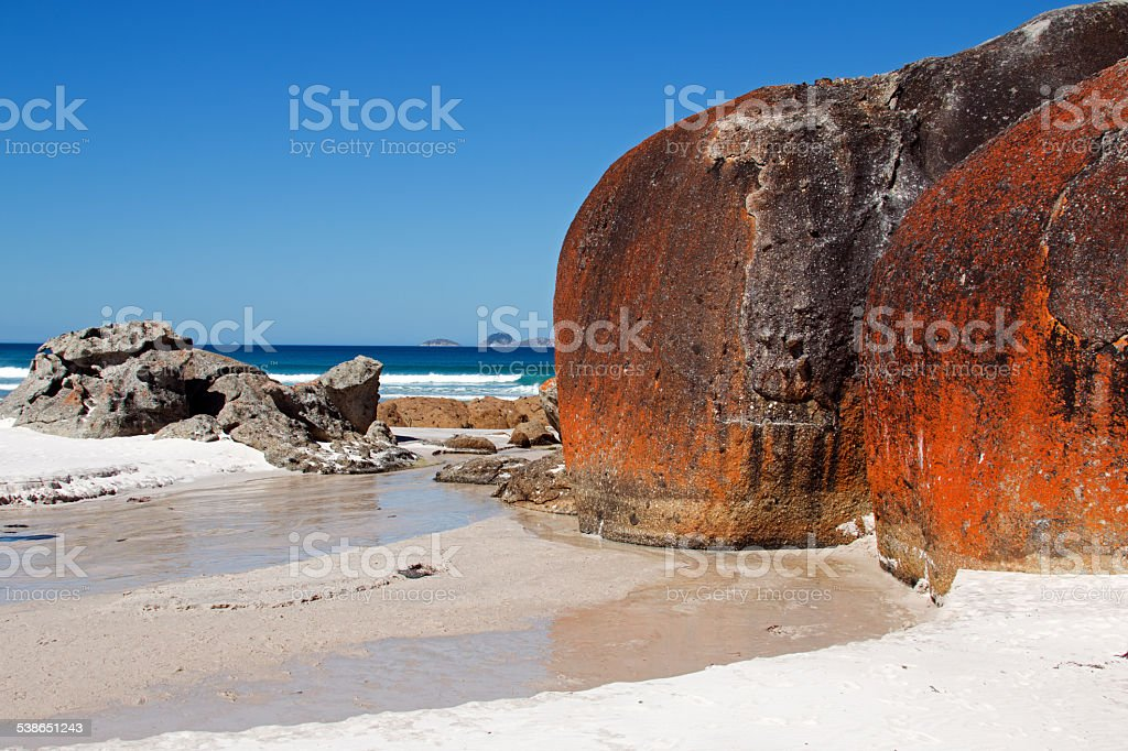 Rock Monoliths at Squeaky Beach Wilsons Promontory Australia stock photo