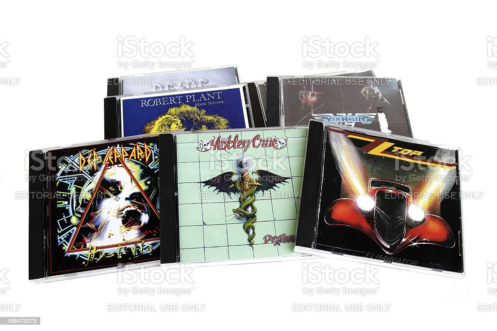 Rock music CD's by legendary artists. stock photo