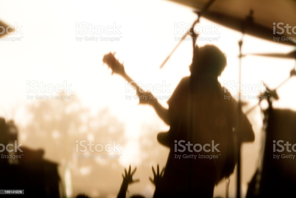 Rock Musician playing for screaming fans royalty-free stock photo