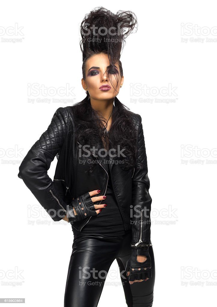 Rock musician woman isolated stock photo