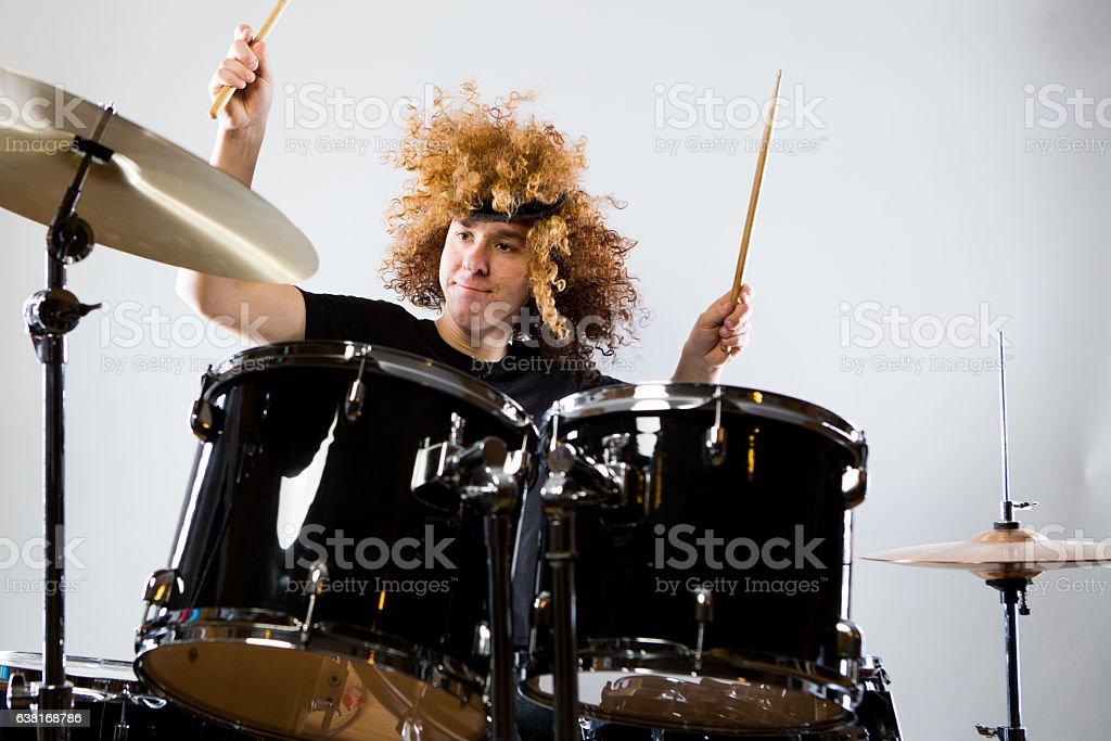 Rock n Roll Drummer stock photo