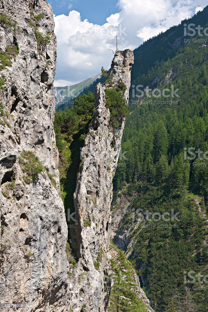 Rock Needle Near Stockach in the Lech Valley, Austria stock photo