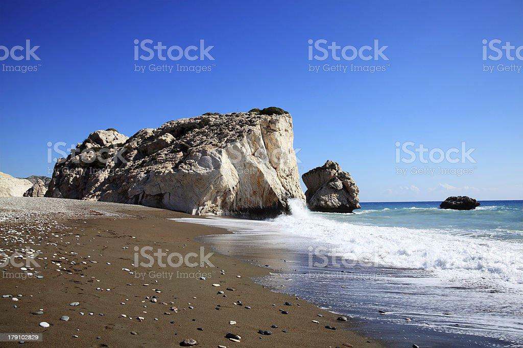 Rock of  Aphrodite (Cyprus) stock photo