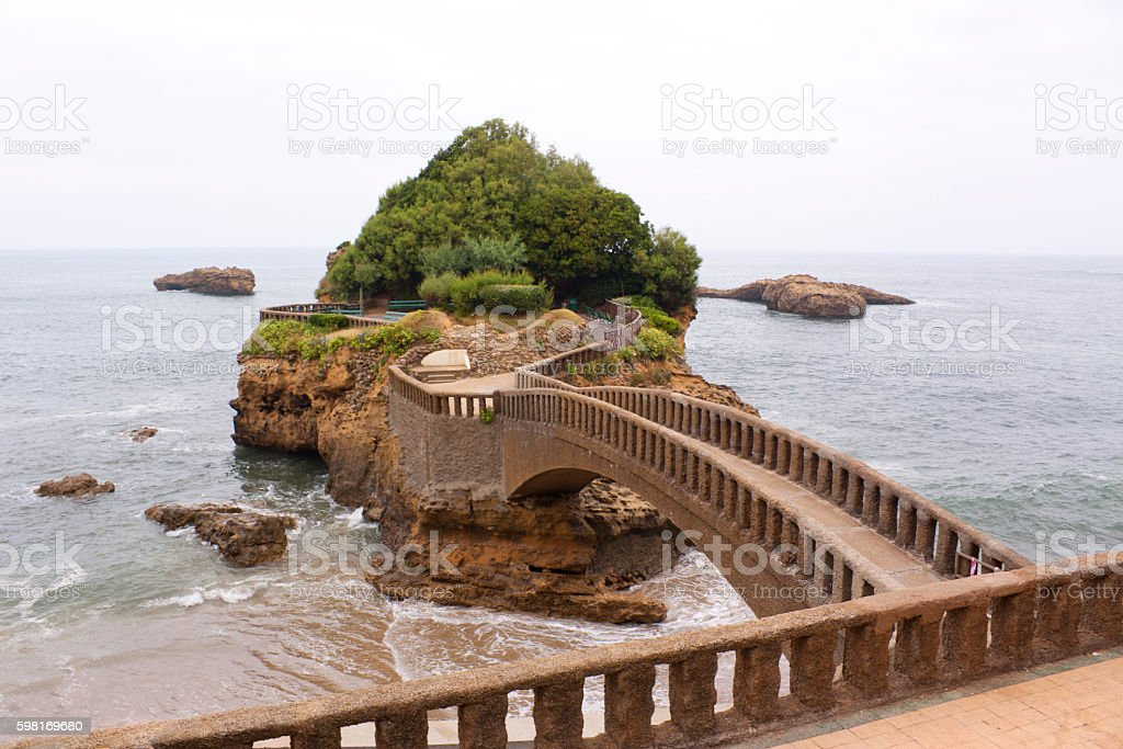 Rock of Basta in Biarritz stock photo