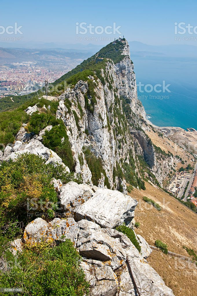 Rock of Gibraltar a view from the top stock photo