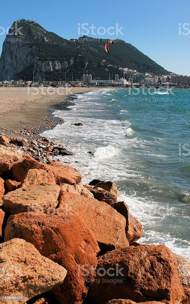 Rock of Gibraltar as seen from Spain royalty-free stock photo