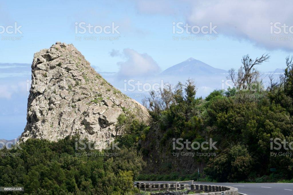 rock of La Gomera and of El Hierro stock photo