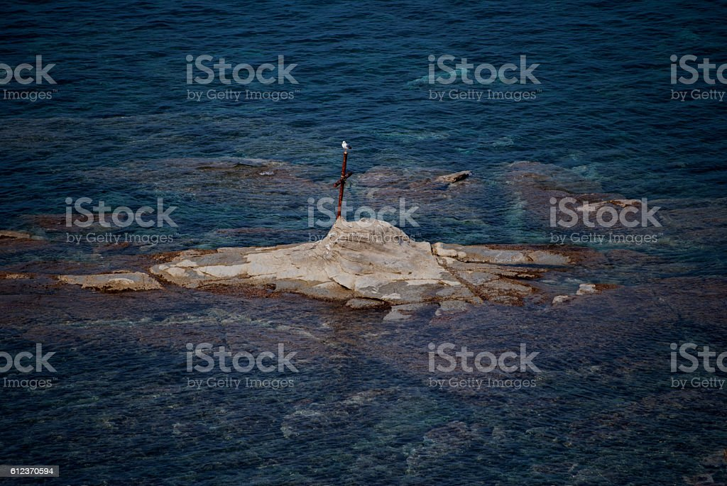 Rock of St. Francisco, from Agropoli village stock photo