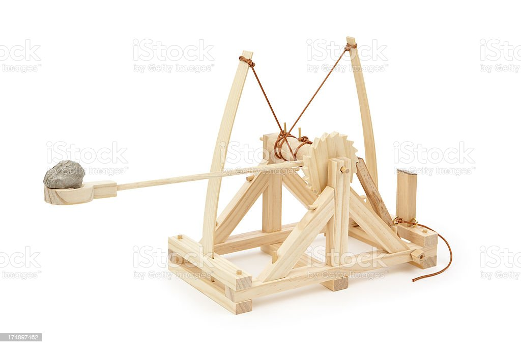 Rock on a Catapult stock photo