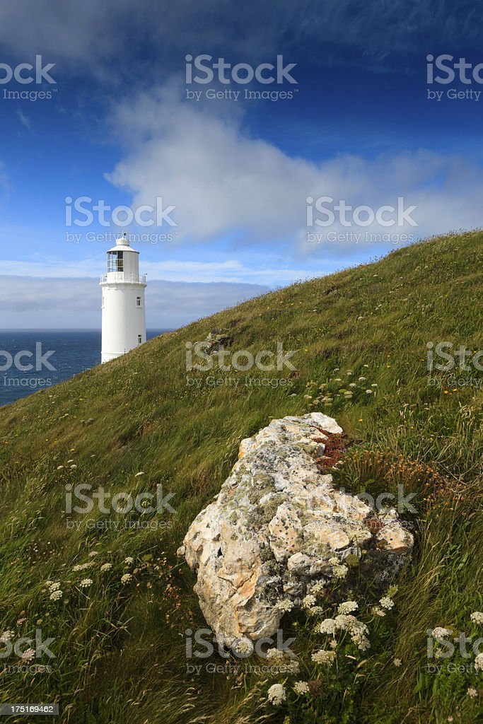 rock on the cliffs at Trevose Head Lighthouse stock photo