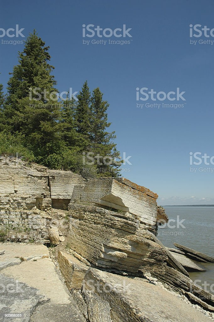 rock outcrop by the ocean royalty-free stock photo