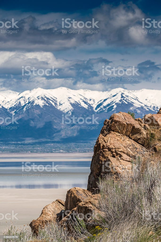 Rock Outcrop on Antelope Island in The Great Salt Lake stock photo