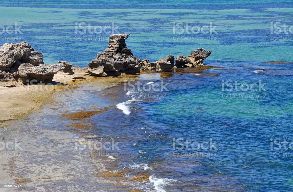 Rock Outcroppings at Cape Peron stock photo
